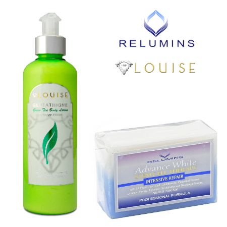 Relumins Intensive Repair whitening soap with Louise Green Tea Glutathione Collagend Lotion
