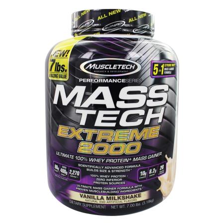 Muscletech-Mass-Tech-Extreme-2000-7bs-Vanilla-Milkshake-Gain-weight-Whey-Protein