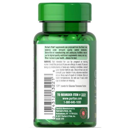 Authentic-Puritans-Pride-GTF-Chromium-Glucose-Tolerance-200-mcg-100-Tablets -Supplement-Facts-Diabetes-Sugar