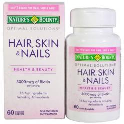Natures-Bounty-Optimal-Solutions-Hair-Skin-Nails-3000mcg-60-Caplets
