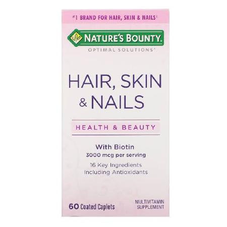 Natures-Bounty-Optimal-Solutions-Hair-Skin-Nails-3000mcg-60-Caplets-Biotin