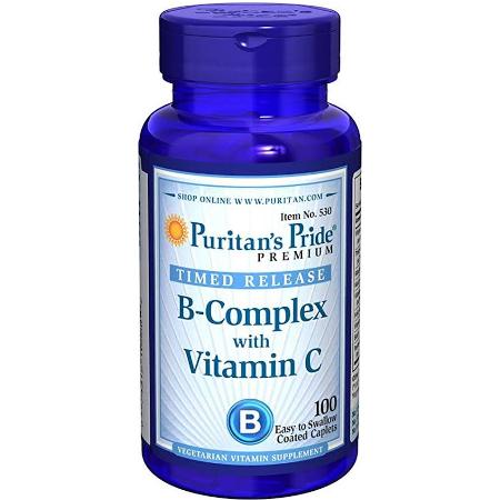 Puritans-Pride-Time-Release-B-Complex-Vitamin-C-100-Caplets-Supplement-Facts-Immunity-Bones