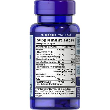 Puritans-Pride-Time-Release-B-Complex-Vitamin-C-100-Caplets-Supplement-Facts